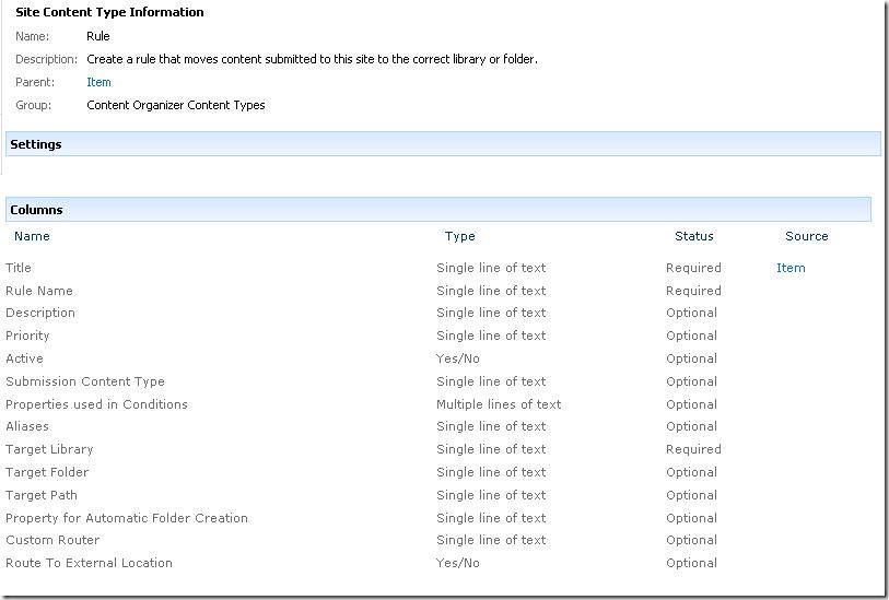 Screenshot of Rule Content Type