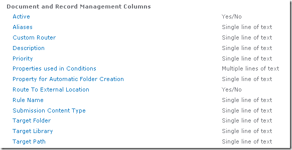 Screenshot of Document and Records Management Site Columns