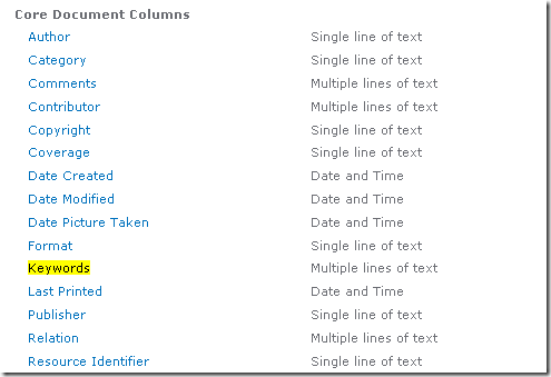 Screenshot of Core Document Columns