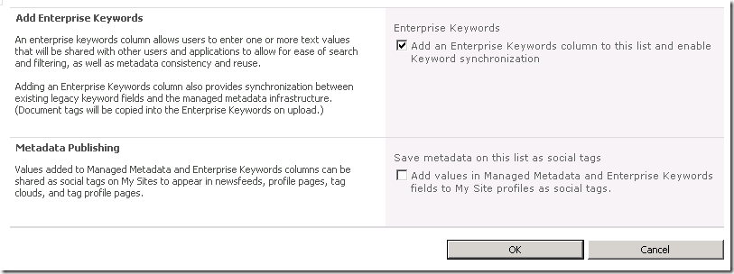 Screenshot of Enterprise Metadata and Keywords Settings page