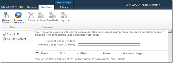 Upload Solution into empty solution gallery