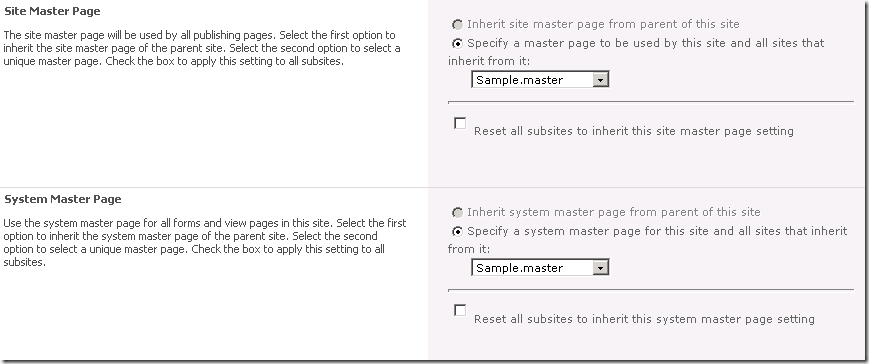 Changing the master page using the SharePoint UI